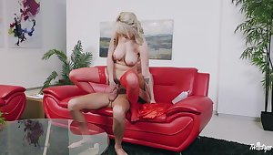 Blonde with natural tits rides like a goddess