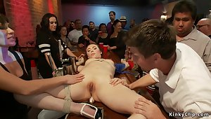 Tied dark haired lady groped in public bar