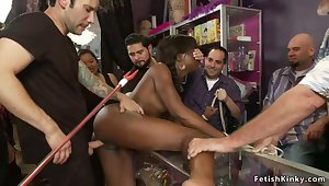 Slim tied ebony made love in public
