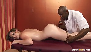 Jennifer White has some game with a black masseur