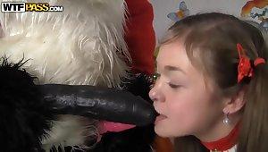 Pretty toddler has anal sex with Santa Panda