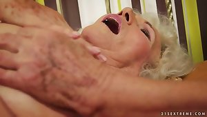 A very hairy granny stimulates will not hear of old clit