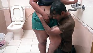 Hot Indian Middle Aged Bhabhi Romance near Bathroom