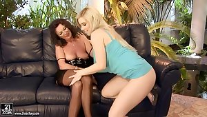 Mature and young lesbians are licking well