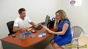 Hot fair-haired milf simulating actual conditions to test the hidden camera