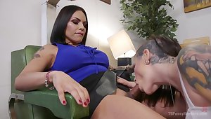 Tattooed hooker Rizzo Ford gets her anus and pussy fucked by horny shemale