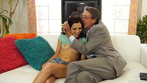 Brooke Haze is fucking her elderly neighbor be fitting of money, while his wife is extensively of town