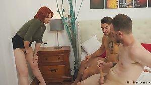 Mr Big redheaded teacher Edyn Blair enjoying some hot bisexual threesome