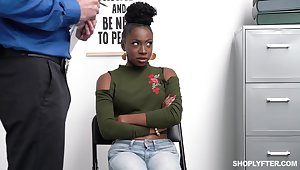 Svelte black chick Anne Amari is punished hard by horny cop here some coitus poses