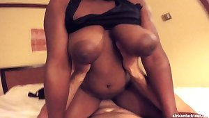 That black goddess with big tits is a head turner with the addition of she loves to ride a dick