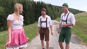 Outdoor beguilement relating to two lads be useful to this precious German hottie