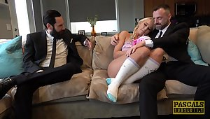 Couch cuckold suits blonde beauty with more than suited inches