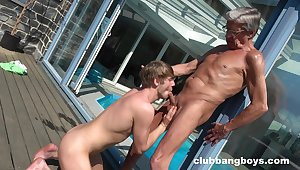 Anal by the pool too much b the best an grey man and his obedient twink