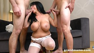 Beamy mature gets mutual by two handsome younger lovers. HD
