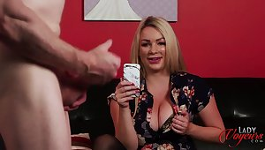 Busty blonde Penny Lee flashes her tits to help him cum faster