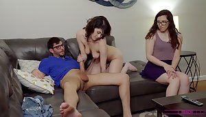 Strong cock sharing home porn between two stepsisters