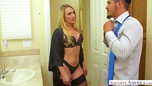 Nympho girlfriend in sexy underclothing and stockings fucks her boyfriend before work