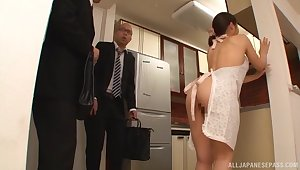 Seductive Japanese housewife pleases hubby's best friend with sex