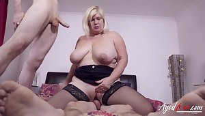 Two horny studs got some hardcore drilling action for busty british mature little one