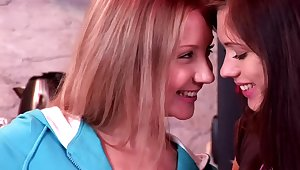 Dirty babes Alice A. and Aspen K. enjoy anal fisting to hand home
