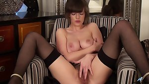 Banging MILF with beamy boobies is scraping her hairy pussy sexily