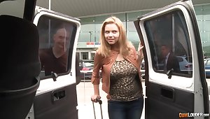 Full unpretentious busty Marina Visconti gives a blowjob in a car with an increment of gets fucked in the backseat