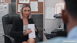 Blonde doll gets the BBC at the office