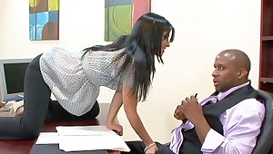 Interracial fucking on transmitted to table with busty cougar Rebeca Linares