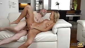 Perfect blonde girl with her pussy fucked by old chap